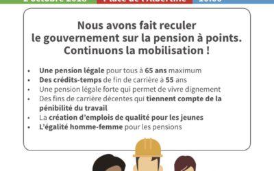 2/10 – Bruxelles : Manifestation pour nos pensions. Travailler jusqu'à 67 ans, jamais !